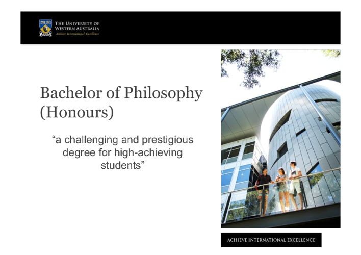 Bachelor of Philosophy (Honours)