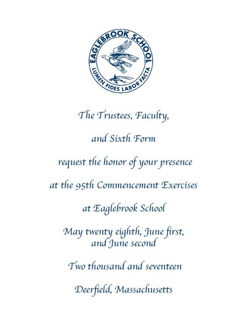 Eaglebrook Commencement Invitation 2017