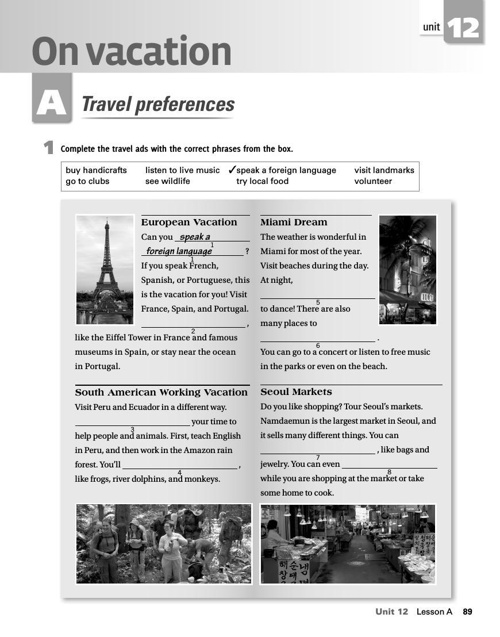ON VACATIONS- TRAVEL PREFERENCES