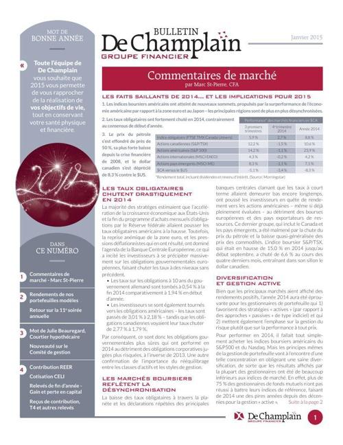 Bulletin De Champlain Janvier 2015