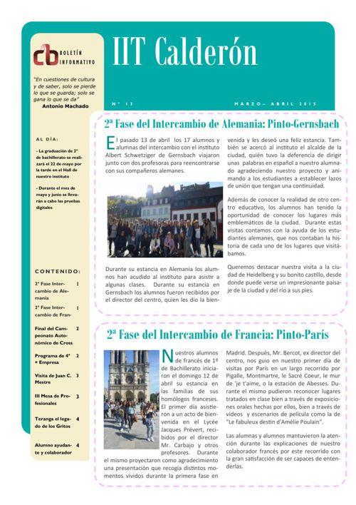 Boletín de marzo-abril del IES Calderón de la Barca de Pinto