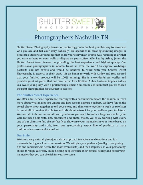 Photographers Nashville TN