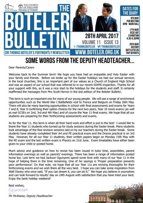 Boteler Bulletin 28th April 2017