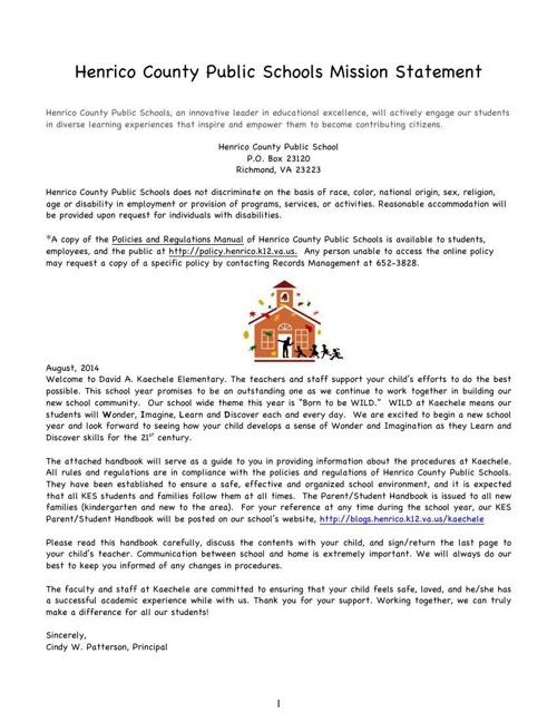 2014-15 KES Parent/Student Handbook