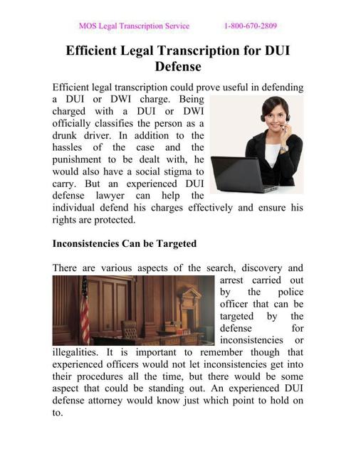Efficient Legal Transcription for DUI Defense