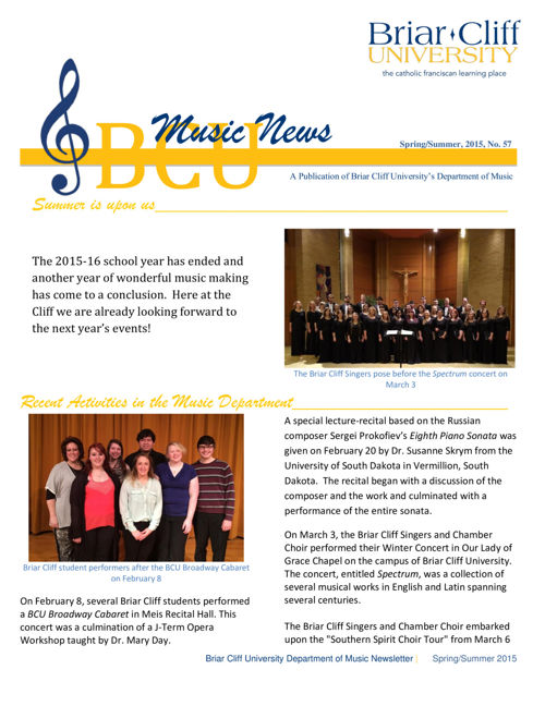 Department of Music Newsletter