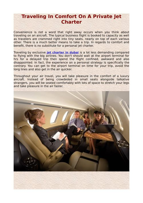 Traveling In Comfort On A Private Jet Charter