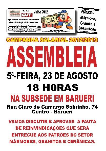 Assembléia Agosto de 2012 - Mármore, Granito e Cerâmica