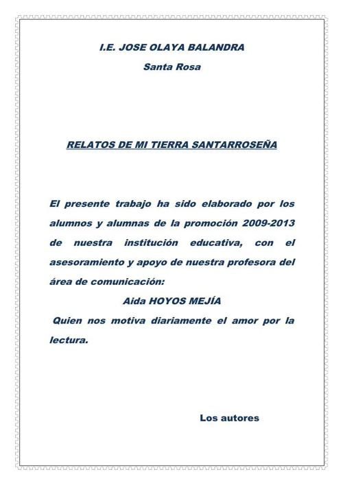 CUENTOS DE NUESTRA TIERRA SANTARROSEÑA