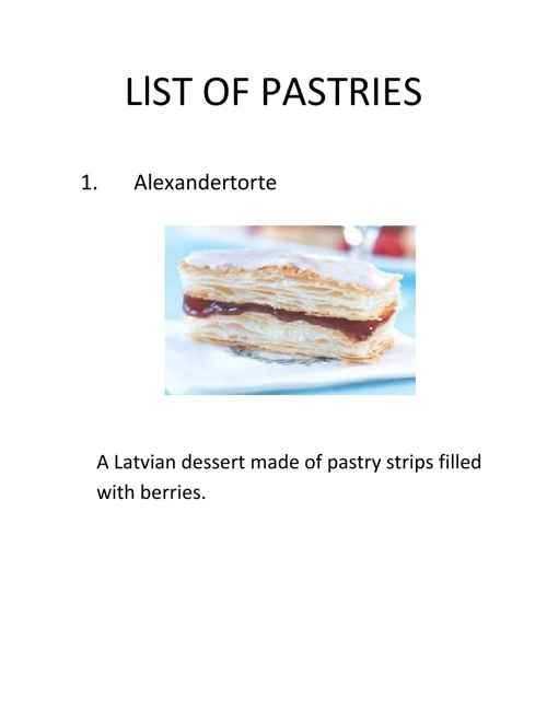 LIST OF PASTRIES BOO