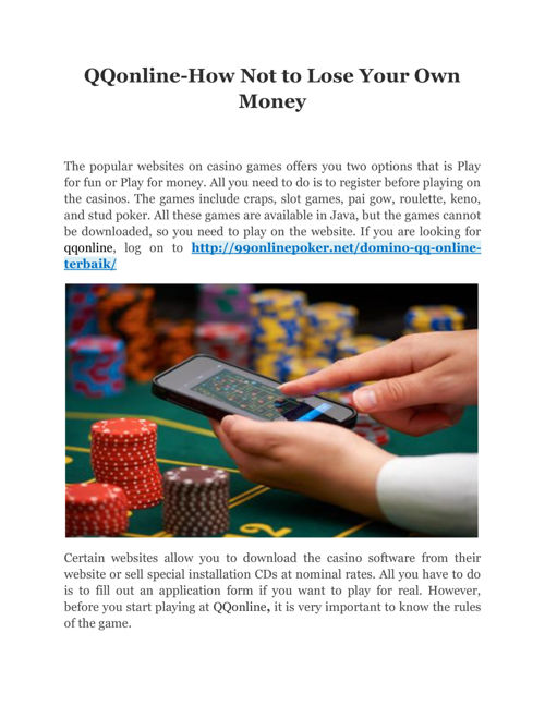 QQOnline-How Not to Lose Your Own Money