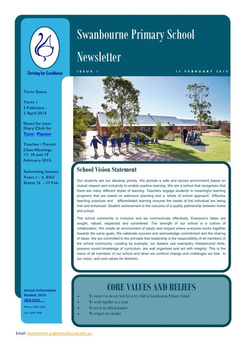 Newsletter Term 1   13 FEB 2015