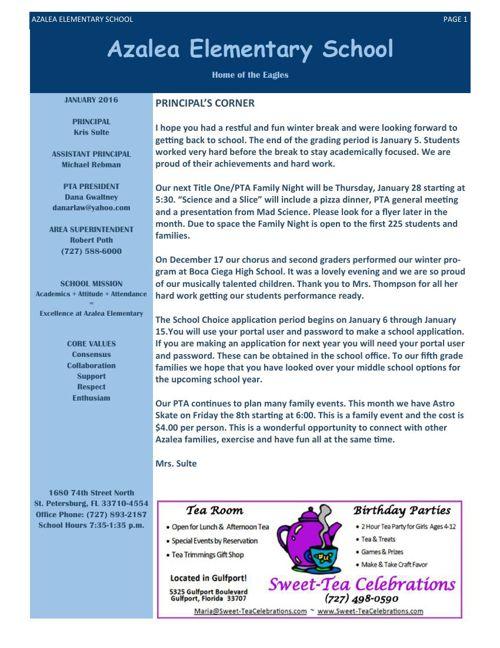 Azalea  Elementary 2016 Newsletters