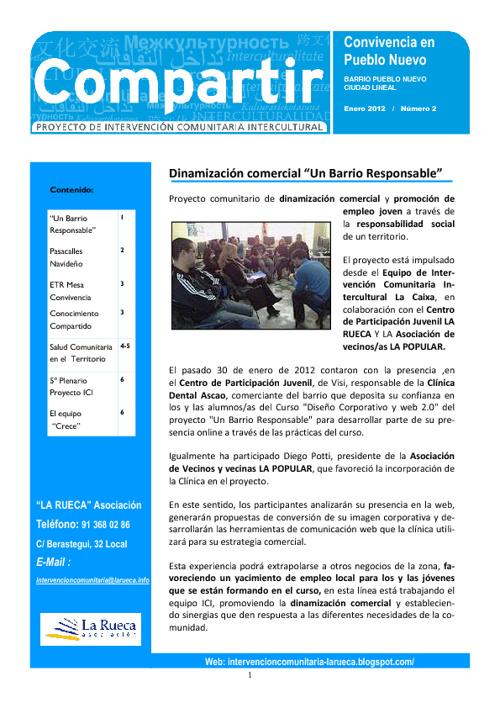 2º Hoja Informativa ICI Pueblo Nuevo, Madrid LA RUECA Asociación
