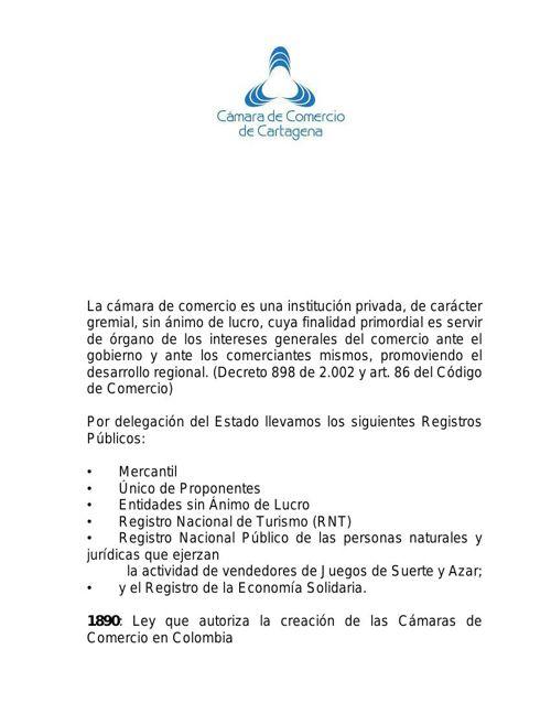 Camara de Comercio de Cartagena.