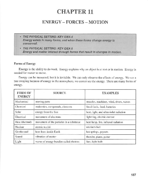 Ch 11: Energy-Forces-Motion