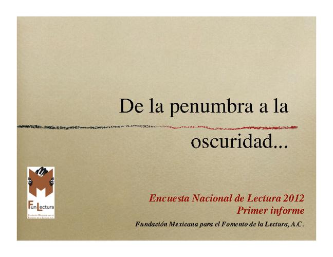 Encuesta Nacional de Lectura 2012