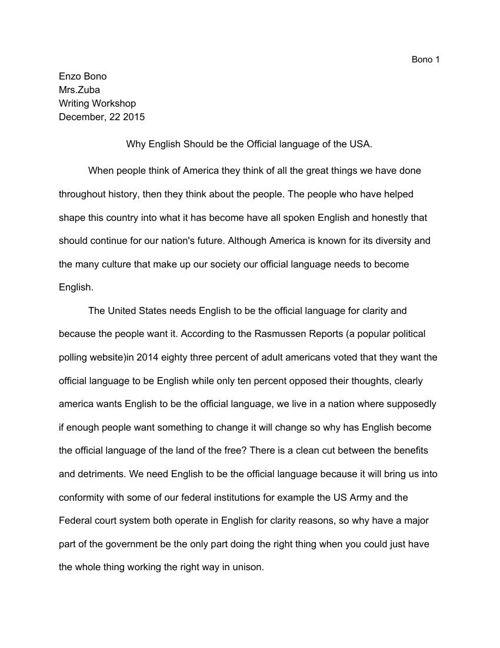 Official Language Argument Essay