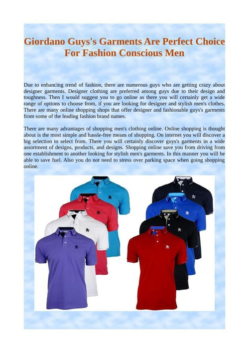 Giordano Guys's Garments Are Perfect Choice For Fashion Consciou