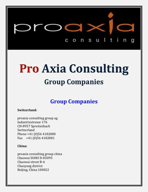 Pro Axia Consulting: Group Companies