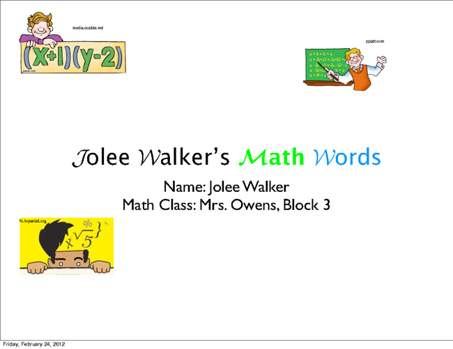 Jolee Walker's Math Words