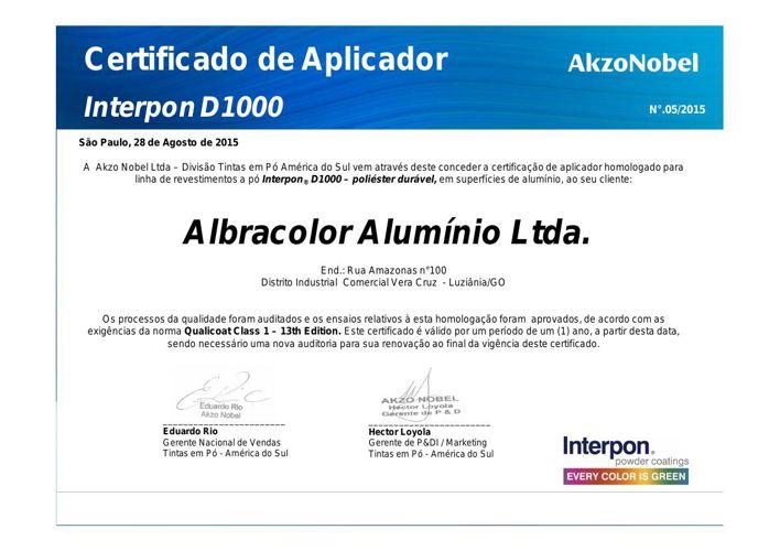 Certificado Akzo Nobel 2015