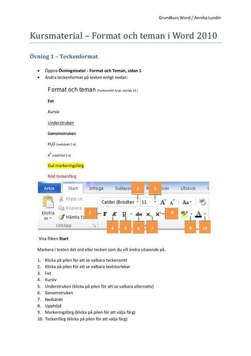 Kursmaterial - Format och teman
