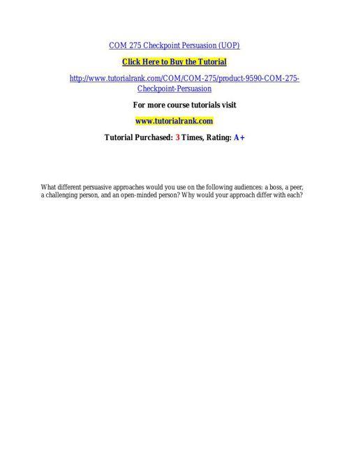 COM 275 learning consultant / tutorialrank.com