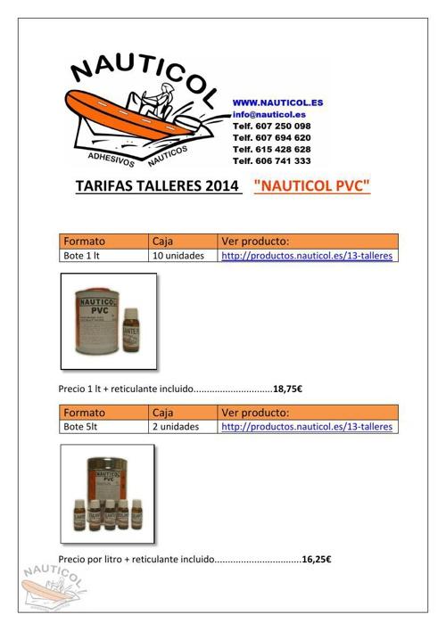 TARIFAS TALLERES 2014