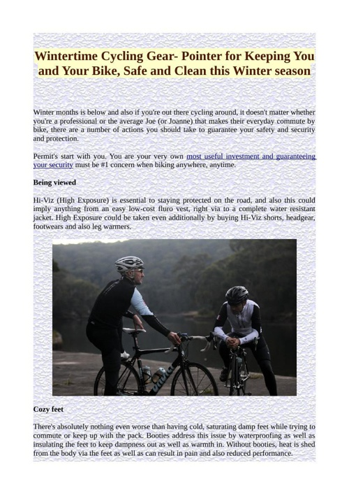 Wintertime Cycling Gear- Pointer for Keeping You and Your Bike,