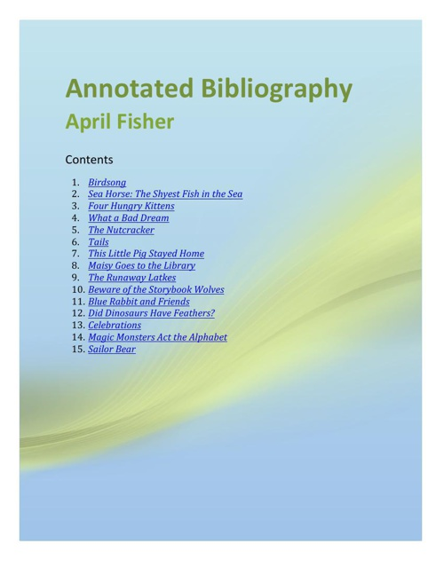 Annotated Bibliograpgy