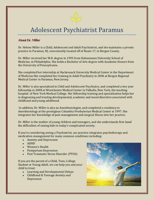 Adolescent Psychiatrist Paramus
