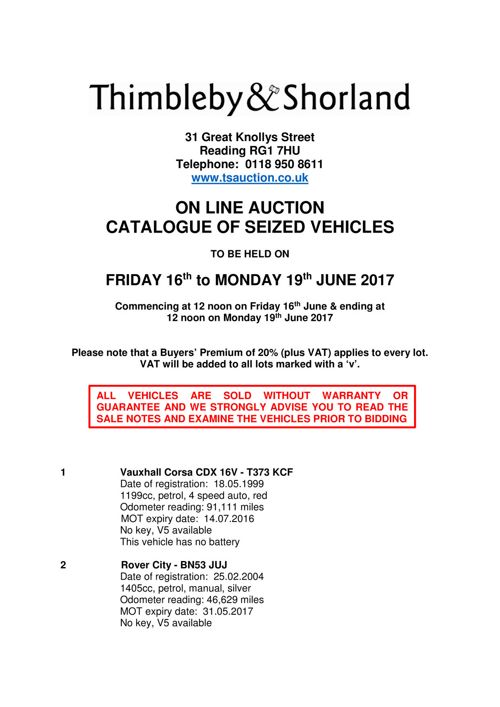 Seized Vehicle Auction Catalogue - 16th June 2017