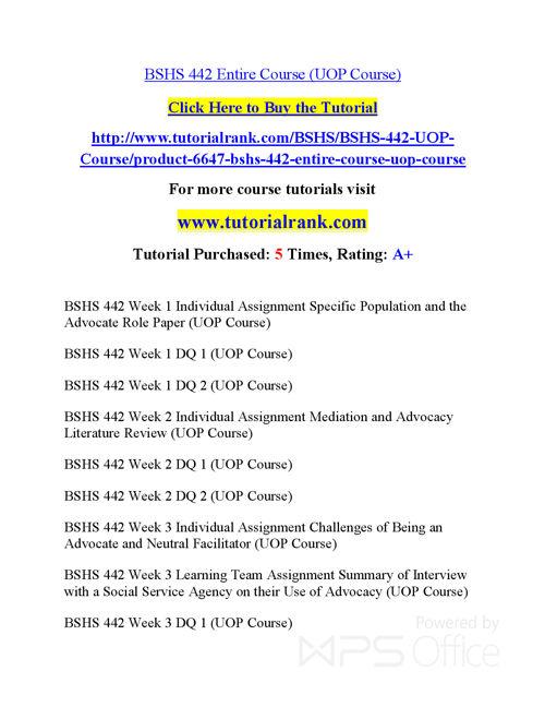 BSHS 442  Course Success Begins / tutorialrank.com