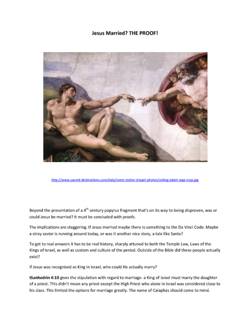 JESUS MARRIED? THE PROOF