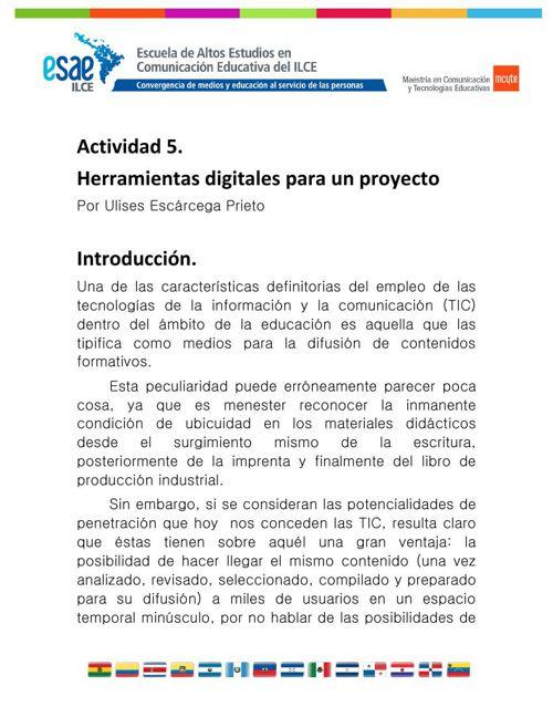 HERRAMIENTAS digitales para un proyecto