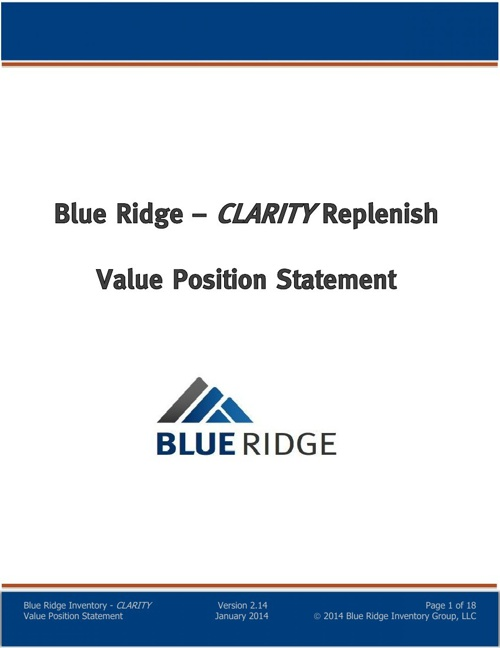 Blue Ridge  CLARITY Benefits vs Competition - January 2014