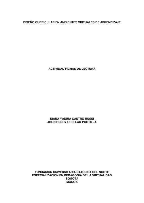 FICHAS DE LECTURA - DISEÑO CURRICULAR EN AVA