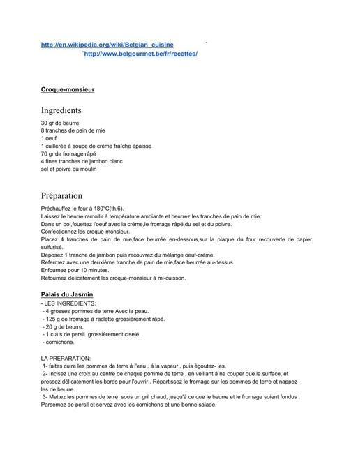 Les recettes Belguique