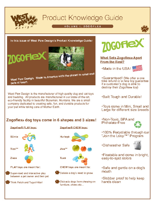 West Paw Product Knowledge Guide - Zogoflex