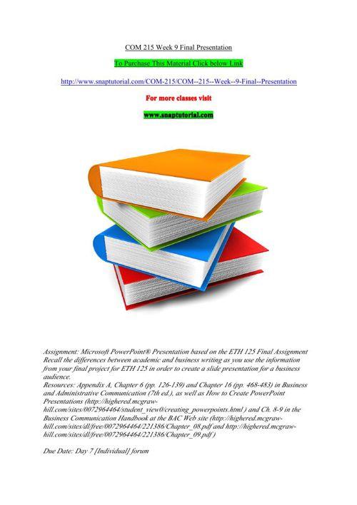 COM 215 Week 9 Final Presentation