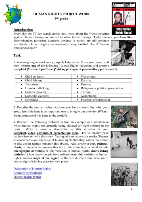 Human Rights Project Work