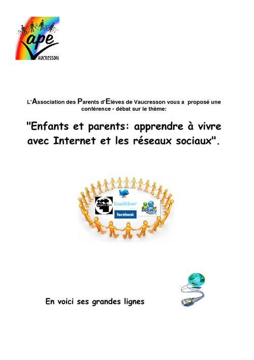 Enfants et parents: apprendre à vivre  avec Internet et les rése