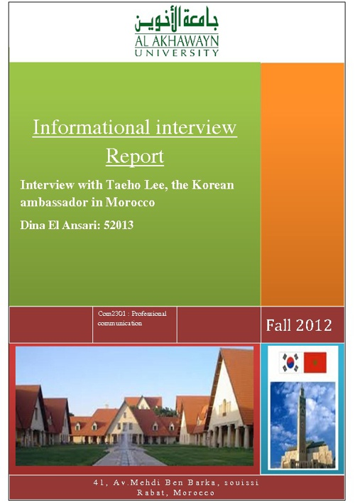 informational interview with the Korean Ambassador in Morocco