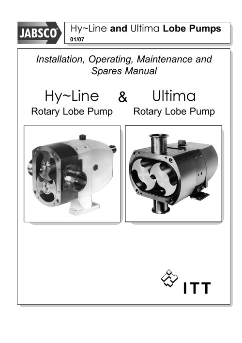 Jabsco Hy-line and Ultima Manual