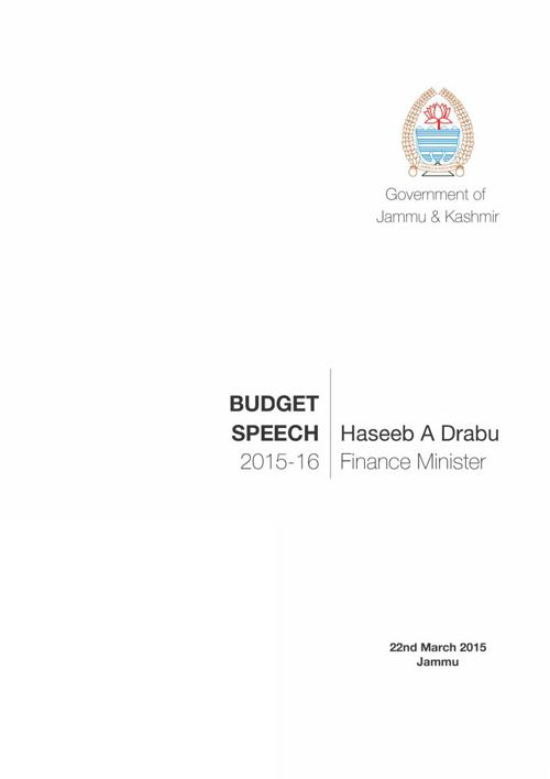 J&K Budget Speech 2015-16