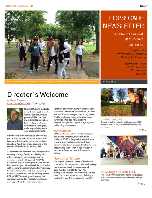 EOPS/CARE Spring 2016 Newsletter (Issue 3)
