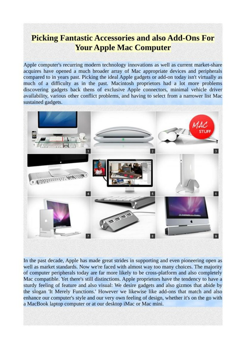 Picking Fantastic Accessories and also Add-Ons For Your Apple Ma