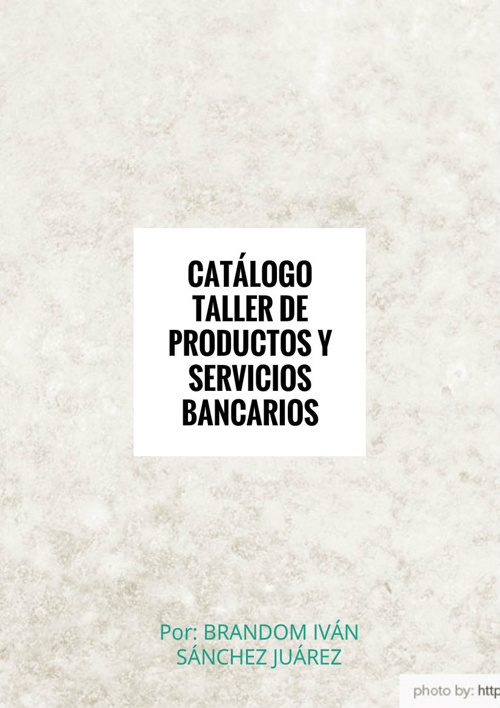 Catálogo Taller de Productos y Servicios Bancarios