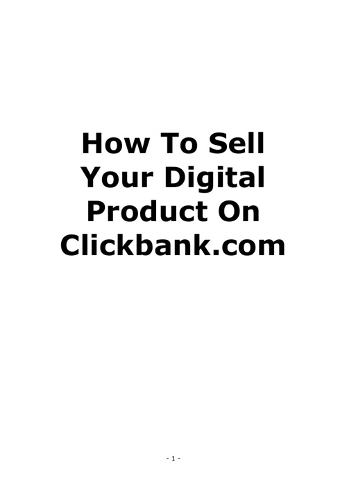How To Sell Your Digital Product On Clickbank
